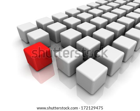 Different red cube on white background