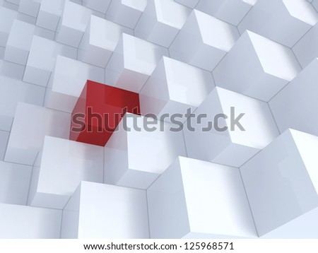 Different red cube with white cubes, Background - stock photo