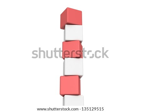 Different red cubes on white background - stock photo
