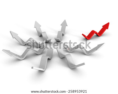 Different Red Leader Arrow Out From White Group. Success Concept 3d Render Illustration - stock photo