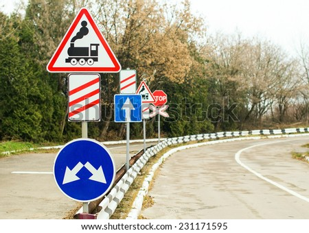 Different road signs at the driving school - stock photo