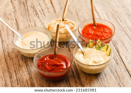 different sauces - stock photo