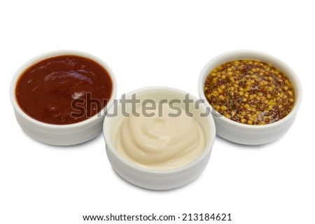 different sauces for barbecue or sandwiches. on a white background - stock photo