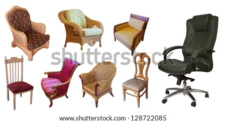 Different set of chairs. Isolated over white background with clipping path - stock photo