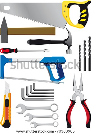 different set of hand tools isolated on white raster version - stock photo