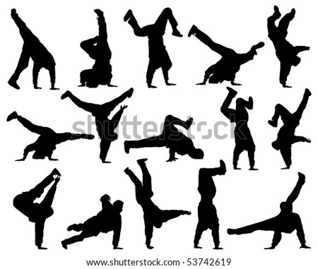 Different silhouette dance. - stock photo