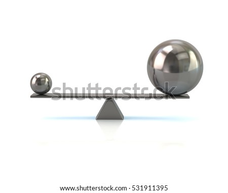 Different silver spheres balancing on a seesaw 3d illustration isolated on white background