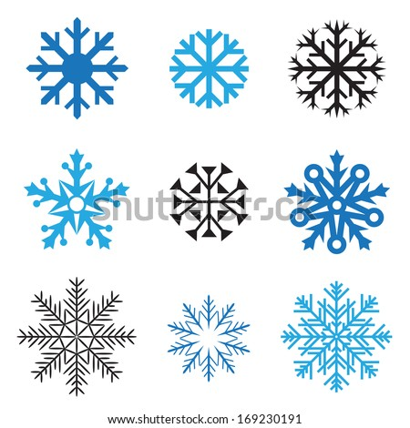 Different simple snowflakes for design on white background - stock photo