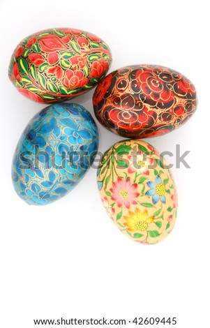 Different size of colorful oval shape balls on white background