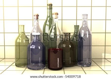 different sized alcohol bottles - stock photo