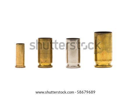 Different sized bullet casings over white background - stock photo
