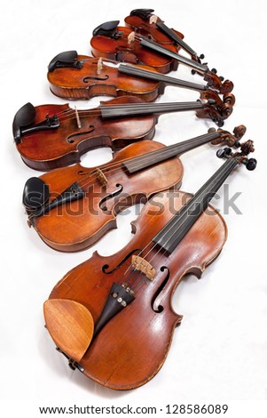 different sized fiddles on white background close up - stock photo