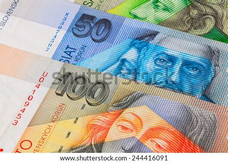 Different Slovakian   banknotes from on the table - stock photo