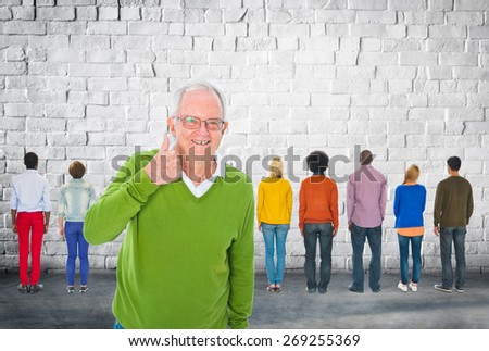 Different Smiling Unique Hipster Casual Team Concept - stock photo