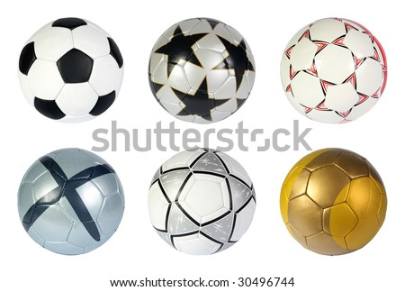 Different soccer ball on a white background, (See more soccer ball in my portfolio) - stock photo