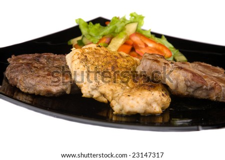 Different sort of grilled meat