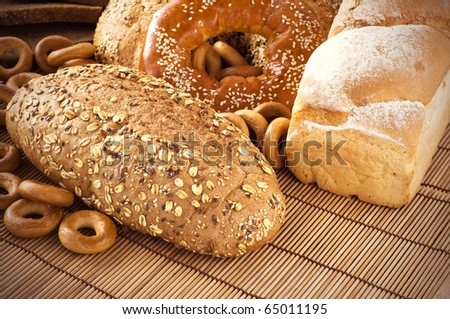 Different sorts of bread - stock photo