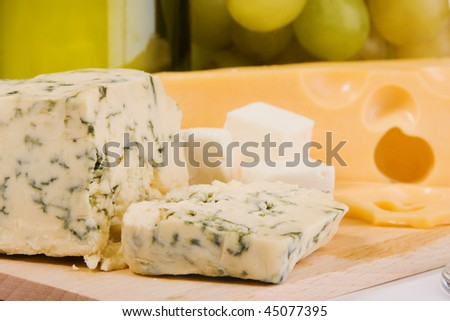 Different sorts of cheese closeup photo