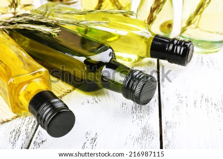 Different sorts of cooking oil, close-up - stock photo