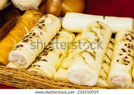 Different sorts of georgian cheese on the table - stock photo