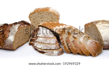 Different sorts of sliced bread, isolated on white