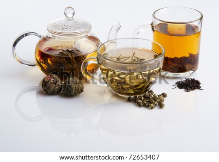 Different sorts of tea - black, green and white - stock photo