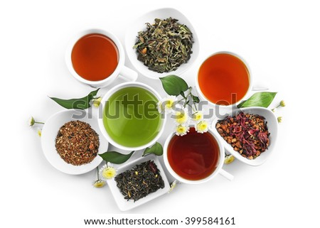 Different sorts of tea on white background - stock photo