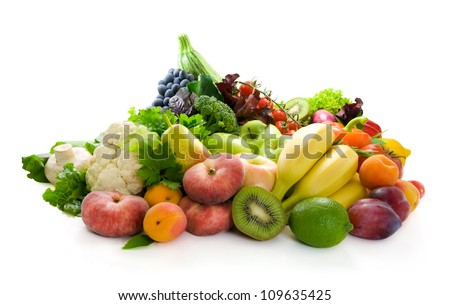 Different sorts of vegetables,fresh fruit and spicy herbs. - stock photo