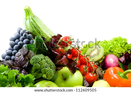 Different sorts of vegetables,fresh fruit and spicy herbs - stock photo