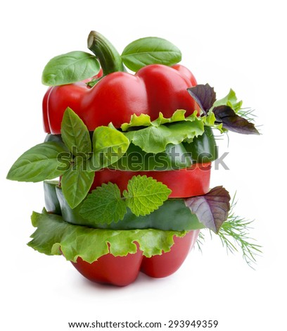 Different sorts of vegetables.Vegetables sandwich. - stock photo