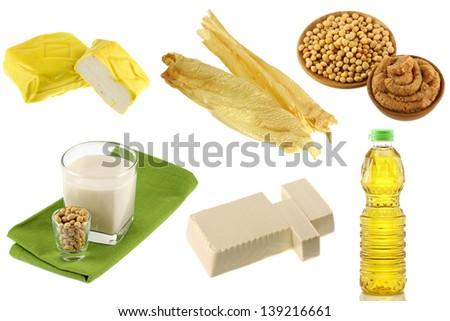 Different Soybean (Soya beans) Products - Yellow Tofu, Tofu Skin, Miso Paste, Soy Milk, Soft Momen (Cotton Tofu), Soybean oil - stock photo