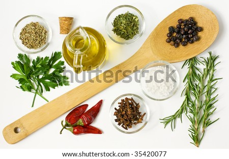Different spices  and on the table on white - stock photo