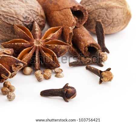 Different spices, Cinnamon, anise, nutmeg isolated on white background