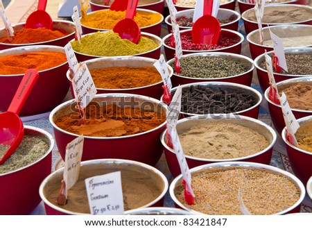 different spices in market