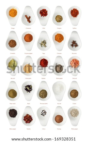 Different spices isolated on white background in ceramic cup - stock photo
