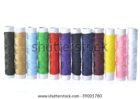 different spools o color f threads - stock photo