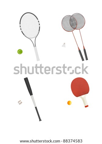 different sport equipment isolated on white - stock photo