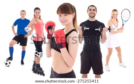 different sports concept - bodybuilder, female tennis player, woman in boxer gloves, roller and soccer player isolated on white background - stock photo