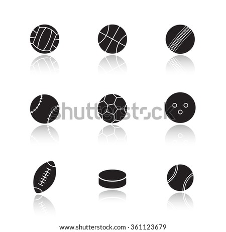 Different sports game balls. Black drop shadow icons set. Active team play games equipment silhouette illustrations. Hockey puck and tennis ball. Raster infographics elements isolated on white - stock photo