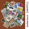 Different stamps collection - stock photo