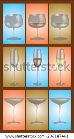 Different stemware on a differently colored background.