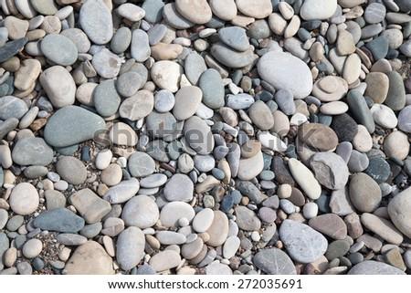 Different  stones pebble beach. Selective focus. - stock photo