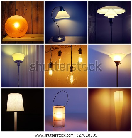 Different styles of modern lamps. Decorative lighting. Collage of nine photos.