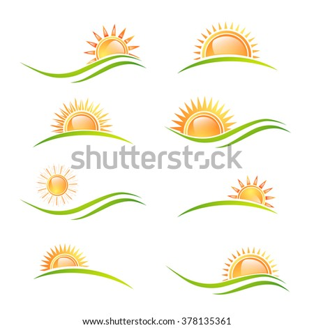 Different Sun at Landscape Collection Over White Background