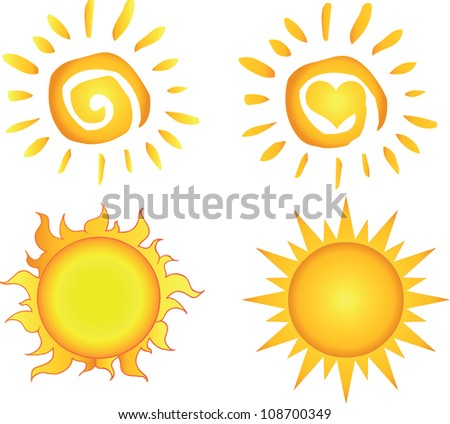 Different Sun. Raster Illustration.Vector version also available in portfolio. - stock photo