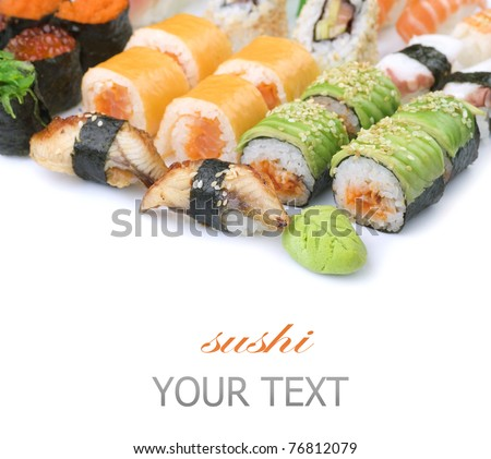 Different Sushi and rolls border