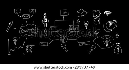 Different symbols and signs on isolated black background