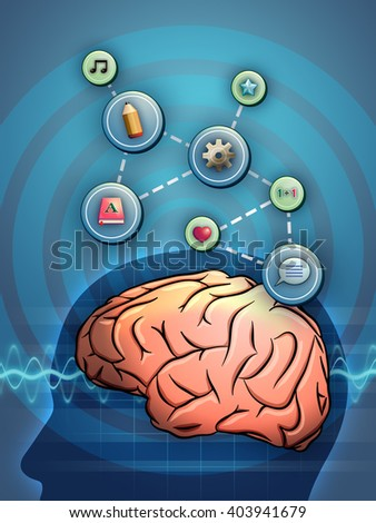 Different thought processes linked to a brain. Digital illustration.