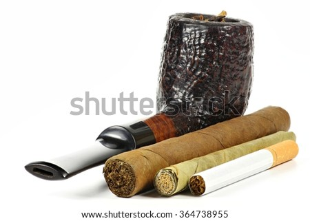 different tobacco products isolated on white background - stock photo