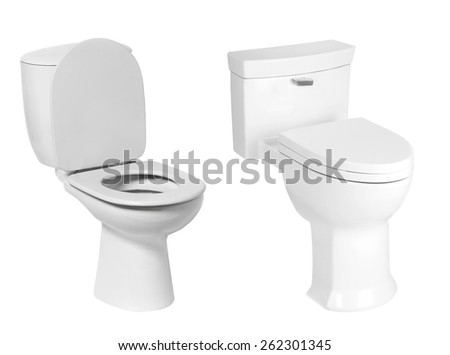 different toilet bowl isolated on white - stock photo